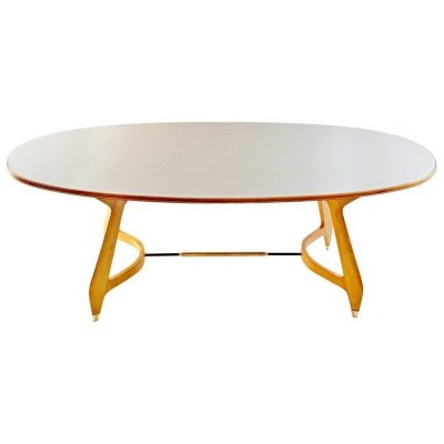 Midcentury Oval Dining Table, Italy 1950s