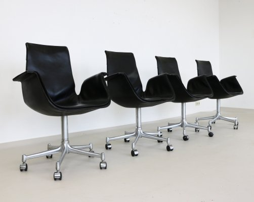 Set of 4 Tulip office chairs by Jørgen Kastholm & Preben Fabricius for Alfred Kill International, 1970s
