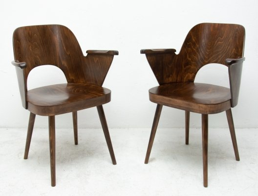 Pair of arm chairs by Oswald Haerdtl for TON, 1960s
