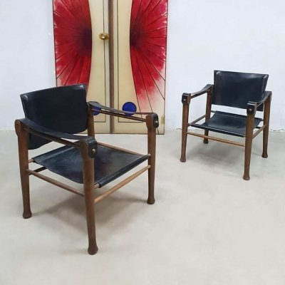 Set of 2 midcentury design leather safari chairs