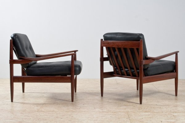 Black faux leather & rosewood armchairs by Grete Jalk, 1960s