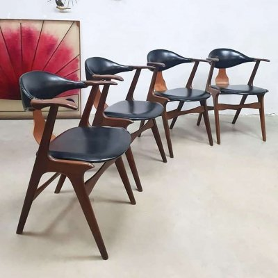 Set of 4 midcentury design cowhorn chairs by Louis van Teeffelen