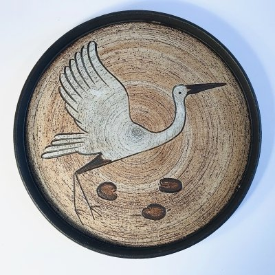 Vintage German Ceramic Wall Plate with Stork Motif by Sgrafo Modern, 1960s