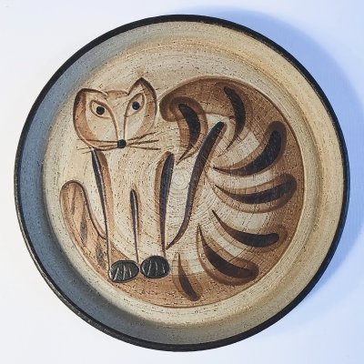 Vintage German Ceramic Wall Plate with Cat Motif by Sgrafo Modern, 1960s