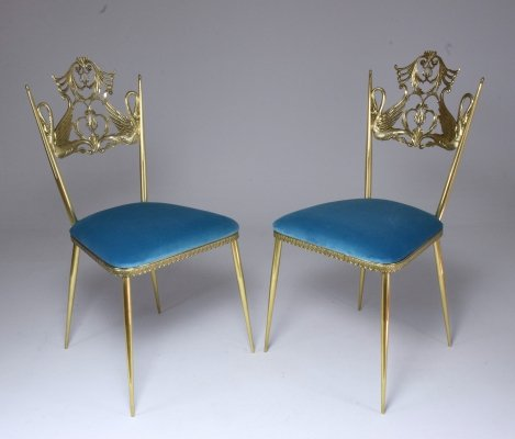 Pair of Italian Vintage Brass Swan Chairs, 1950s