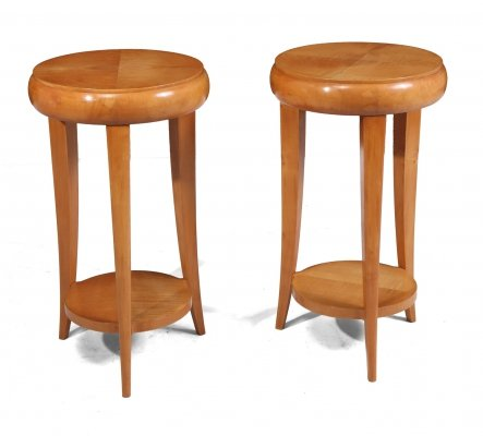 Pair of French Art Deco Sycamore Side Tables, c1925