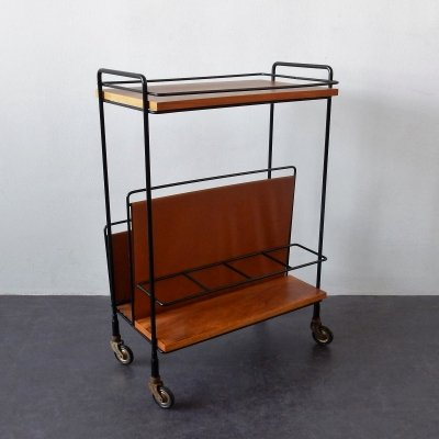 Vintage bar cart / serving trolley with magazine rack, 1960's