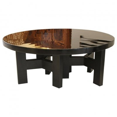 Black lacquered resin round coffee table by Ado Chale, c.1970s
