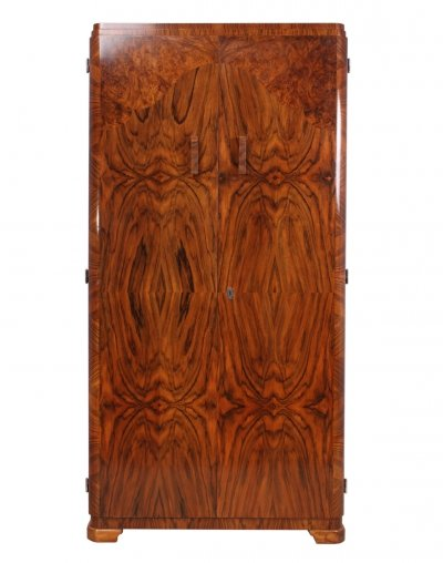 Original Art Deco Wardrobe in Walnut