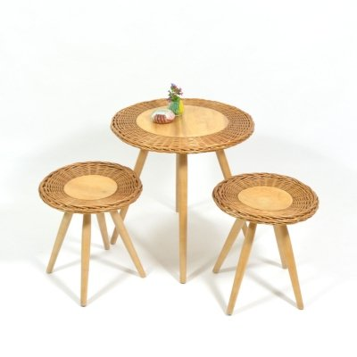1970s Rattan Coffee Table & Two Stools by ÚLUV