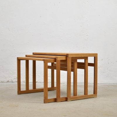 Set of three nesting tables by Kai Kristiansen for Vildbjerg Møbelfabrik, 1950's