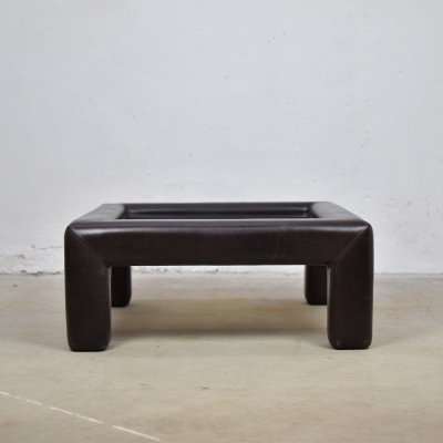 Rare dark brown leather cocktail or coffee table by De Sede, Switzerland 1970's