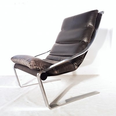 Minimalist steel & patinated leather lounge chair, 1960s