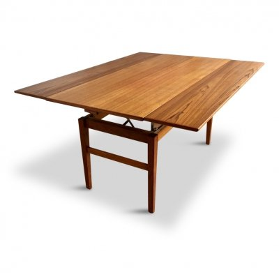 Mid-Century Swedish Adjustable Teak Coffee Table or Dining Table by Emmaboda