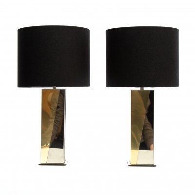 Pair of mid-century table brass & chrome Italian table lamps by Romeo Rega