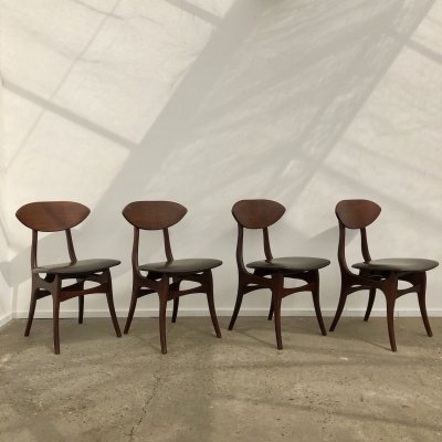 Set of 4 Louis Van Teeffelen chairs for AWA, 1960s