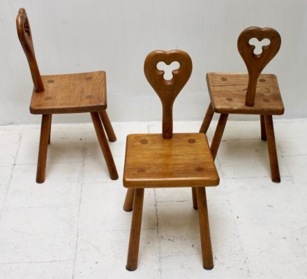 Set of 3 handcrafted brutalist children chairs, Belgium 1960's