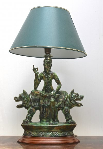 Decorative 'buddha with dragons' table lamp from the sixties
