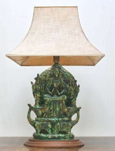 Decorative 'buddha with elephants' table lamp from the sixties