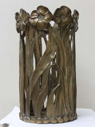 Handcrafted solid metal Art deco umbrella stand, 1930s