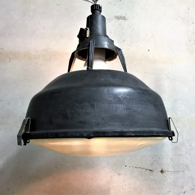 Vintage industrial pendant lights with glass, 1960s
