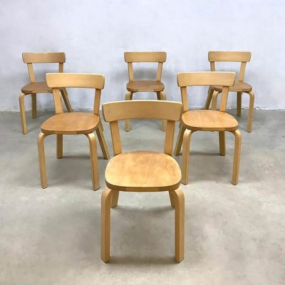 Set of 6 vintage design model 69 dining chairs by Alvar Aalto for Artek Finland