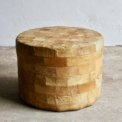 Leather Patchwork Poufe