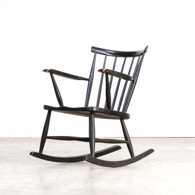 70s black lacquered wooden rocking chair