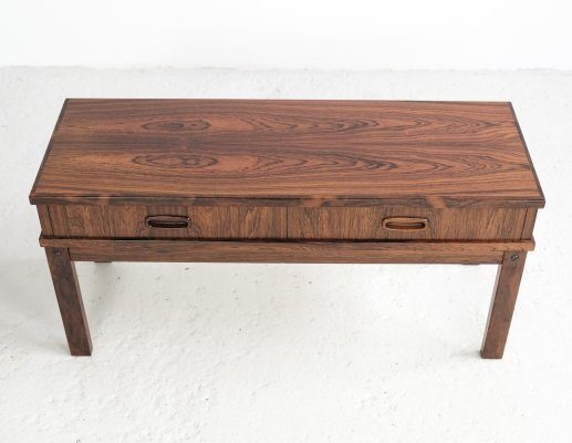 Low Danish chest of 2 drawers in rosewood, 1960s