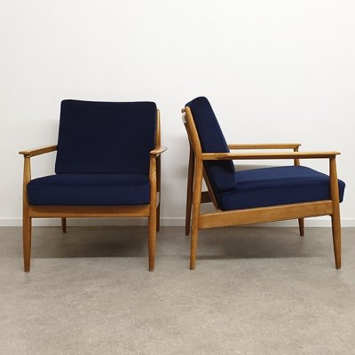 Pair of Armchairs in Navy blue velours, 1960s