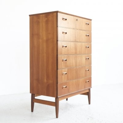 Danish chest of 6 drawers in teak by Omann Jun, 1960s