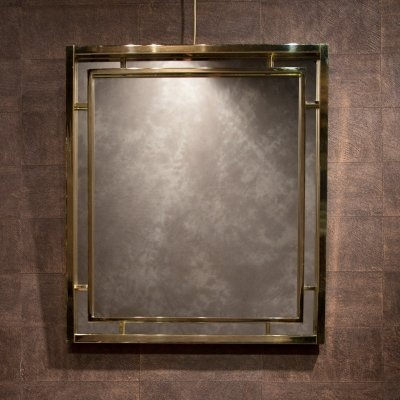 Brass mirror by Romeo Rega, 1970s