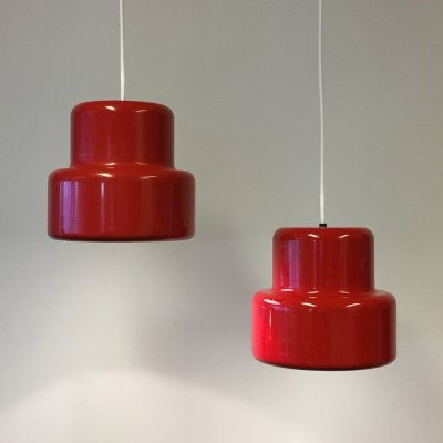 Pair of Danish poker mini pendant lights by Jo Hammerborg for Lyfa, 1970