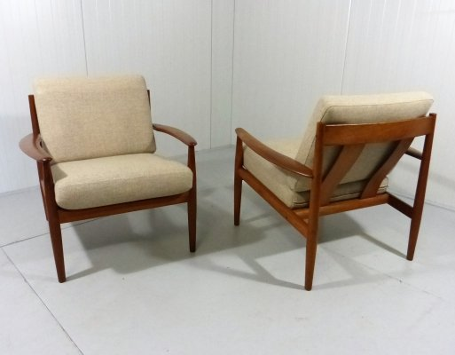 Pair of Easy Chairs in Teak by Grete Jalk for France & Son