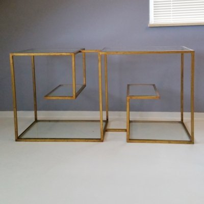 Gilded Metal & Glass Etagere, 1970s
