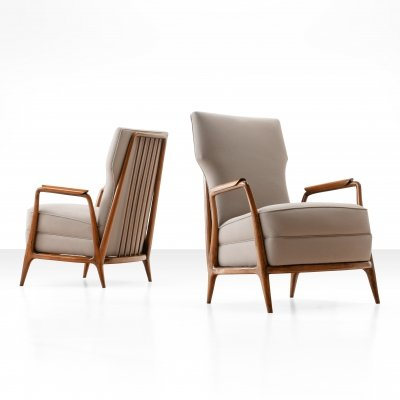 Pair of Giuseppi Scapinelli High Back Chairs in Caviuna Wood, Brazil 1950s