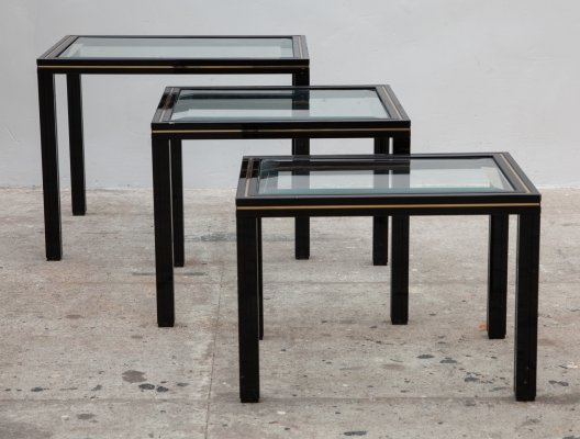 French Nesting table set in Black & Brass by Pierre Vandel, 1970s