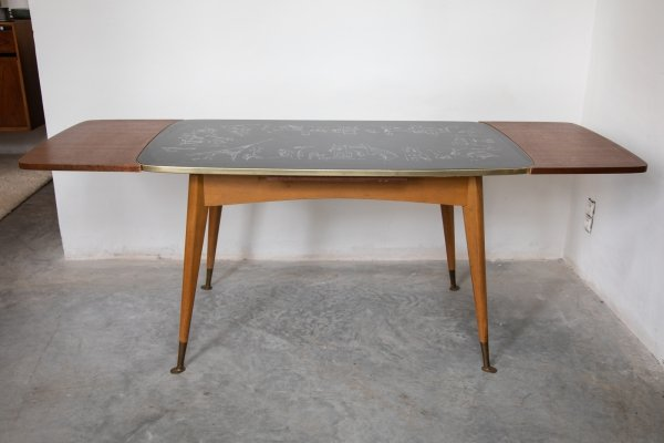 Adjustable Coffee or Dining Table with Graphic Parisian Scene, 1950s