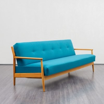 Petrol blue sofa in cherrywood with fold-out function, 1960s