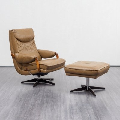 Relaxing 1970s lounge leather armchair with footstool