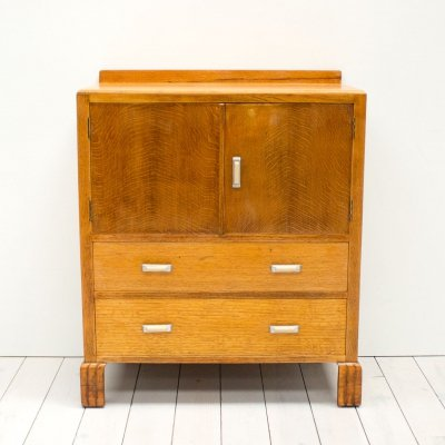 Art Deco Oak Chest of Drawers with Cabinet