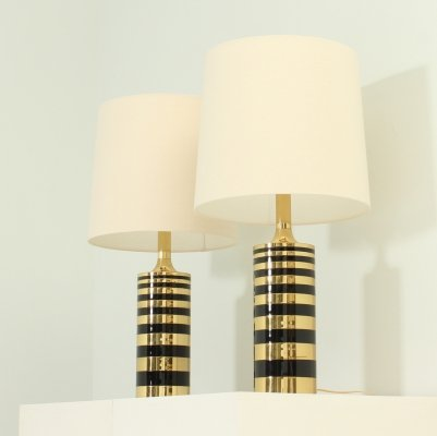 Pair of Table Lamps in Brass & Lacquered Metal, 1970's