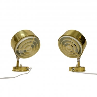 Pair of Vintage Swedish Golden Lamps by BJS Skellefteå, 1960s