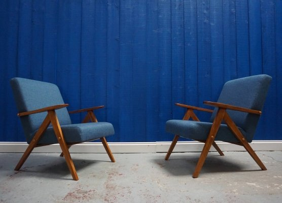 Pair of Mid Century Modern Armchairs in Blue Tweed, 1960's