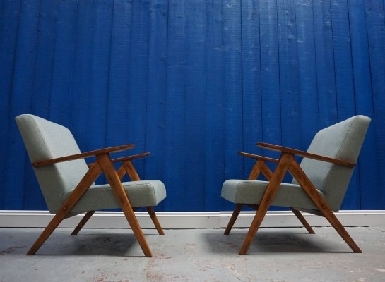 Pair of Mid Century Modern Armchairs in Tweed, 1960s