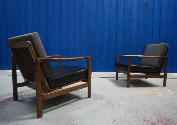 Pair of Mid Century Modern Club Armchairs in Grey & Black, 1960s