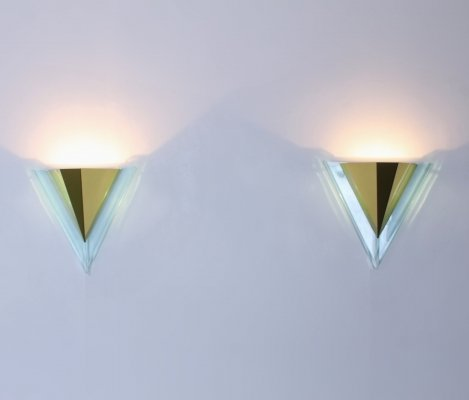Pair of brass wall lights, 1980s