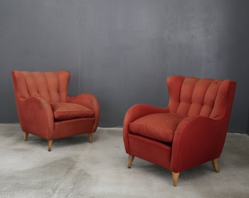 Pair of Gio Ponti armchairs in original fabric, 1950s