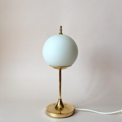 Vintage Brass & Opaline Glass Table Lamp, Germany 1960s