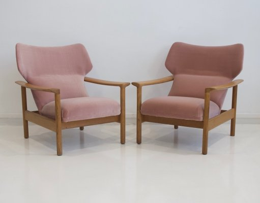 Pair of Dusty Pink Velvet Armchairs
